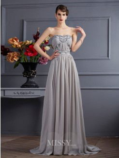 A-Line Sleeveless Sweetheart Pleats Sweep/Brush Train Chiffon Beading Dress