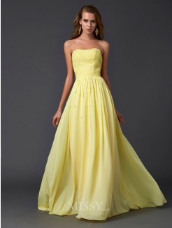 A-Line Strapless Beading Pleats Sleeveless Chiffon Sweep/Brush Train Dress