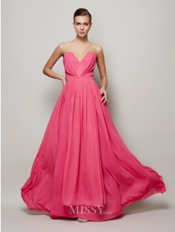 A-Line Sweetheart Pleats Floor-Length Sleeveless Chiffon Dress