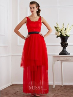 A-Line Straps Ankle-Length Pleats Sleeveless Elastic Woven Satin Dress