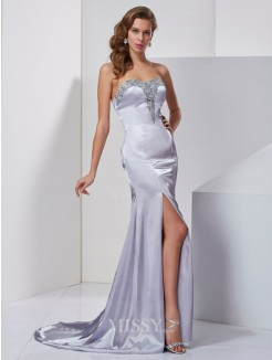 A-Line Sweep/Brush Train Sleeveless Beading Sweetheart Elastic Woven Satin Dress