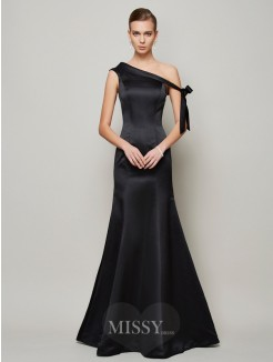 Mermaid One-Shoulder Sleeveless Bowknot Floor-Length Satin Dress