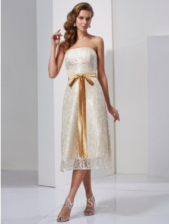 Sheath Strapless Sleeveless Sash/Ribbon/Belt Knee-Length Satin Dress