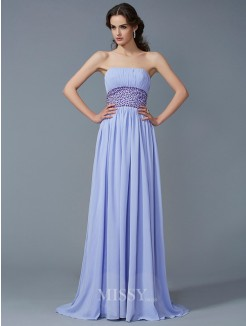 A-Line Strapless Sleeveless Beading Sweep/Brush Train Chiffon Dress