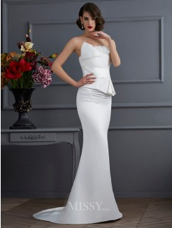 Mermaid Strapless Sleeveless Hand-Made Flower Sweep/Brush Train Satin Dress