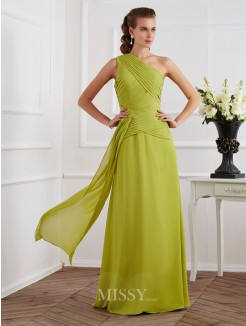 A-Line Sleeveless One-Shoulder Pleats Floor-Length Chiffon Dress