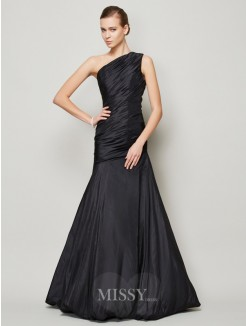 A-Line Sleeveless One-Shoulder Pleats Floor-Length Taffeta Dress