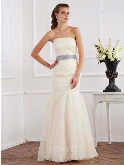 Mermaid Strapless Sleeveless Sash/Ribbon/Belt Floor-Length Organza Dress