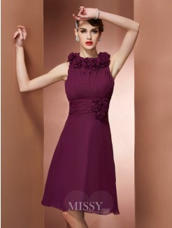 A-Line High Neck Sleeveless Hand-Made Flower Knee-Length Bridesmaid Dress