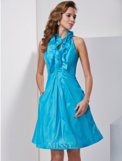 A-Line Halter Ruffles Sleeveless Knee-Length Taffeta Dress