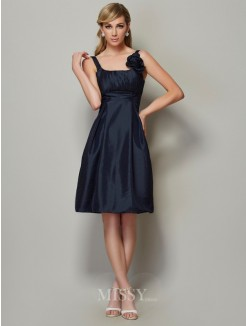A-Line Straps Sleeveless Pleats Taffeta Knee-Length Dress