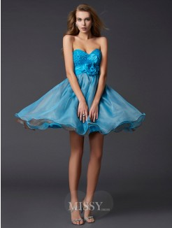 A-Line Sleeveless Sweetheart Paillette Mini Taffeta Dress