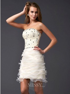Sheath Sleeveless Strapless Beading Tulle Mini Dress