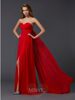 A-Line Sleeveless Pleats Sweetheart Floor-length Chiffon Dress