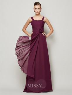 A-Line Straps Hand-made Flower Pleats Sleeveless Chiffon Dress