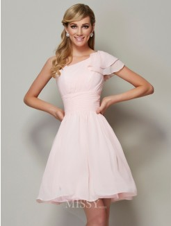 A-Line Straps Sleeveless Pleats Chiffon Mini Bridesmaid Dress