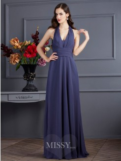 A-Line Halter Sleeveless Pleats Chiffon Floor-Length Dress