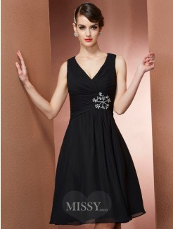 A-Line Straps Sleeveless Knee-Length Chiffon Bridesmaid Dress