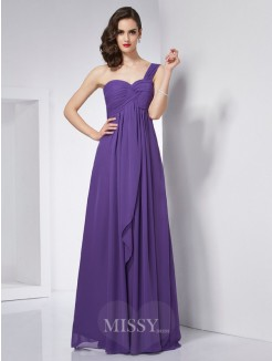 A-Line One-Shoulder Sleeveless Pleats Chiffon Floor-Length Dress