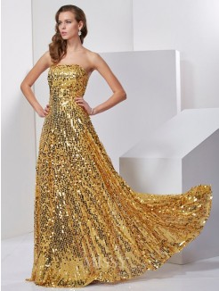 Sleeveless Strapless A-Line Floor-Length Satin Long Dress
