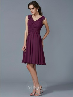 A-Line Straps Sleeveless Pleats Knee-Length Chiffon Bridesmaid Dress