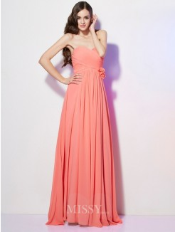 A-Line Sweetheart Sleeveless Hand-Made Flower Floor-Length Chiffon Dress