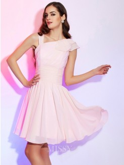 A-Line Pleats Sleeveless Mini Chiffon Dress