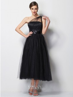 A-Line One-Shoulder Sleeveless Pleats Elastic Woven Satin Tea-Length Dress
