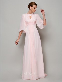 A-Line 1/2 Sleeves High Neck Beading Sweep/Brush Train Chiffon Dress