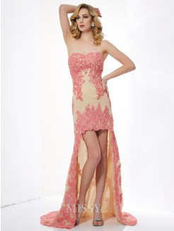 A-Line Sleeveless Sweetheart Applique Lace Asymmetrical Dress