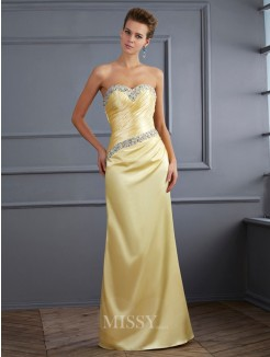 Mermaid Sweetheart Sleeveless Beading Floor-Length Elastic Woven Satin Dress