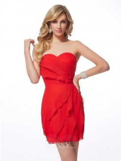 Sweetheart Sheath Sleeveless Ruffles Chiffon Mini Dress