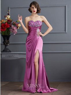 Sweetheart Sheath Sleeveless Beading Sweep/Brush Train Elastic Woven Satin Dress