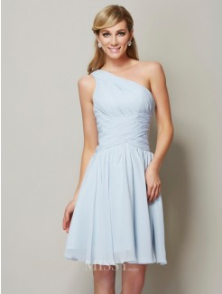 A-Line One-Shoulder Sleeveless Ruched Mini Chiffon Bridesmaid Dress