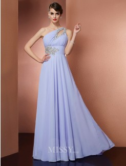 A-Line One-Shoulder Sleeveless Applique Beading Sweep/Brush Train Chiffon Dress