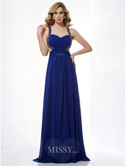 Beading A-Line Halter Sleeveless Floor-Length Chiffon Dress
