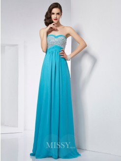 A-Line Sweetheart Sleeveless Chiffon Floor-Length Dress