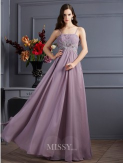 Empire Spaghetti Straps Beading Sleeveless Floor-Length Chiffon Dress