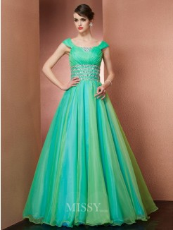 A-Line Scoop Beading Sleeveless Floor-length Organza Dress