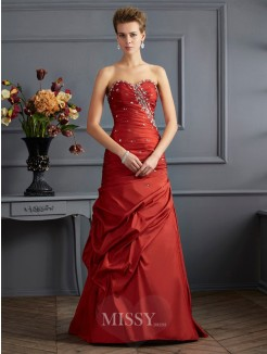 Mermaid Sweetheart Sleeveless Floor-length Beading Taffeta Dress