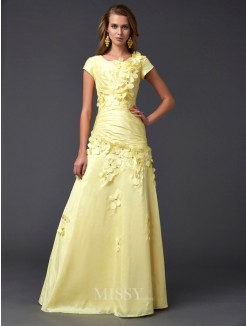 Sheath Short Sleeves Scoop Floor-length Taffeta Dress