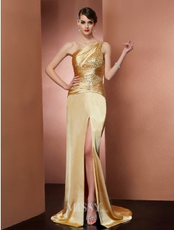Sheath One-Shoulder Sleeveless Elastic Woven Satin Beading Sweep/Brush Train Dress