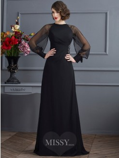 Sheath Scoop Long Sleeves Beading Sweep/Brush Train Chiffon Dress