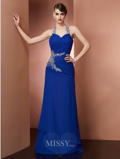 Sheath Halter Sleeveless Beading Chiffon Floor-Length Dress