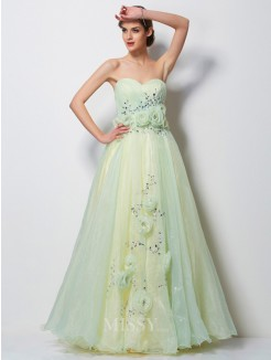 A-Line Sweetheart Sleeveless Beading Floor-Length Tulle Dress