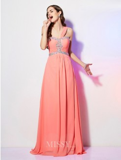 A-Line Sleeveless One-Shoulder Beading Sweep/Brush Train Chiffon Dress