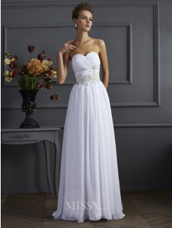 A-Line Sweetheart Sleeveless Beading Sweep/Brush Train Chiffon Dress