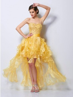 A-Line Sweetheart Beading Sleeveless Tulle Asymmetrical Dress