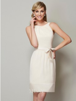 Sheath Scoop Sleeveless Knee-Length Chiffon Bridesmaid Dress