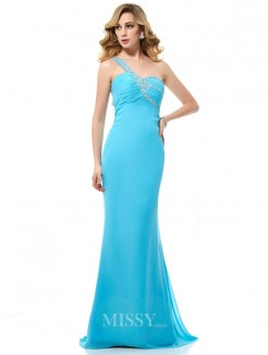 Mermaid Chiffon One-Shoulder Beading Sleeveless Sweep/Brush Train Dress